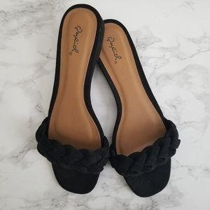 Black Suede Slide Sandals